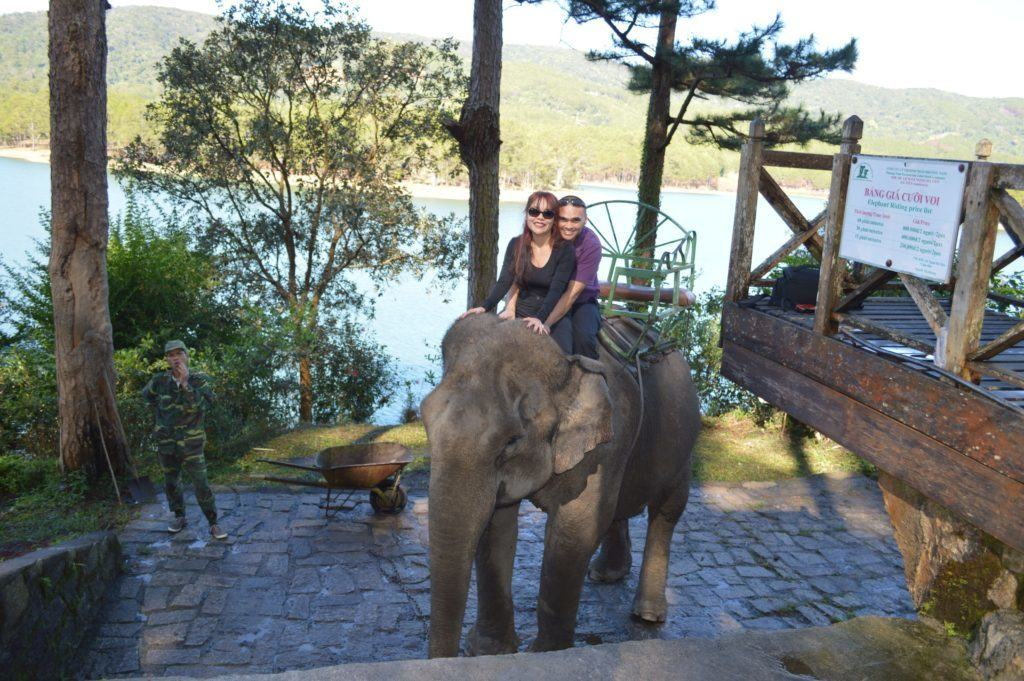 The Travel Ninjas riding an elephant in Dalat Vietnam
