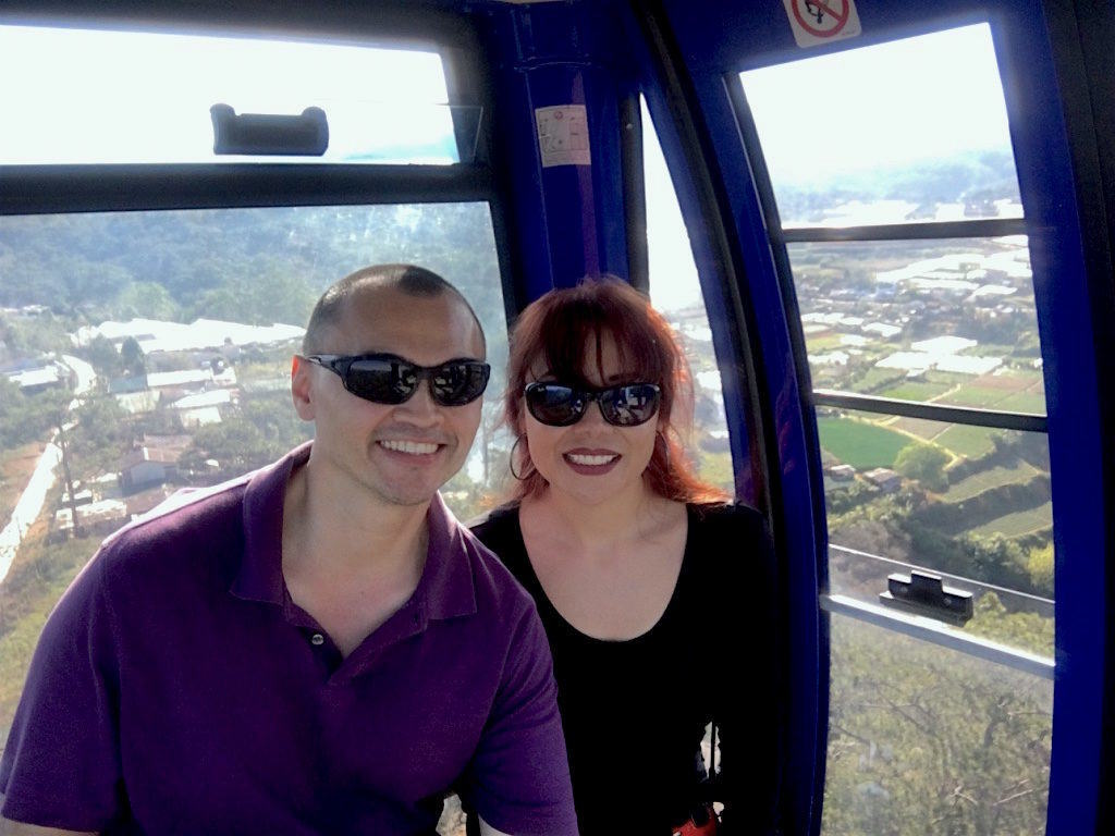 The Travel Ninjas enjoying the cable car in Dalat, Vietnam