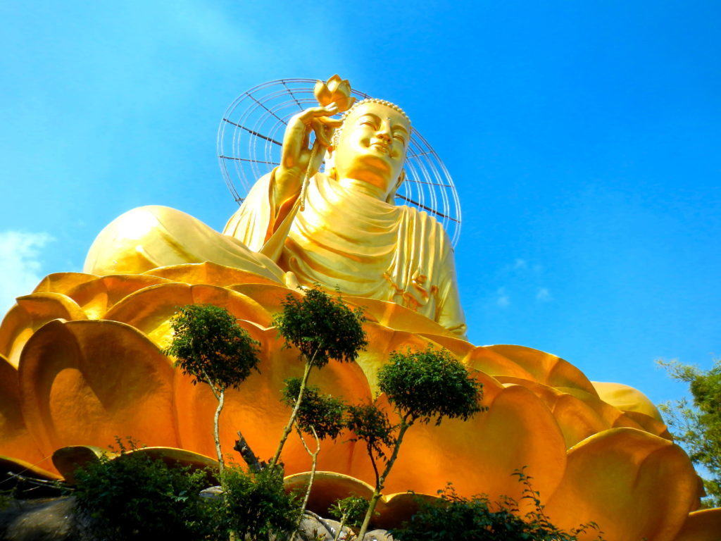 Closeup of the Golden Buddah in Dalat, Vietnam