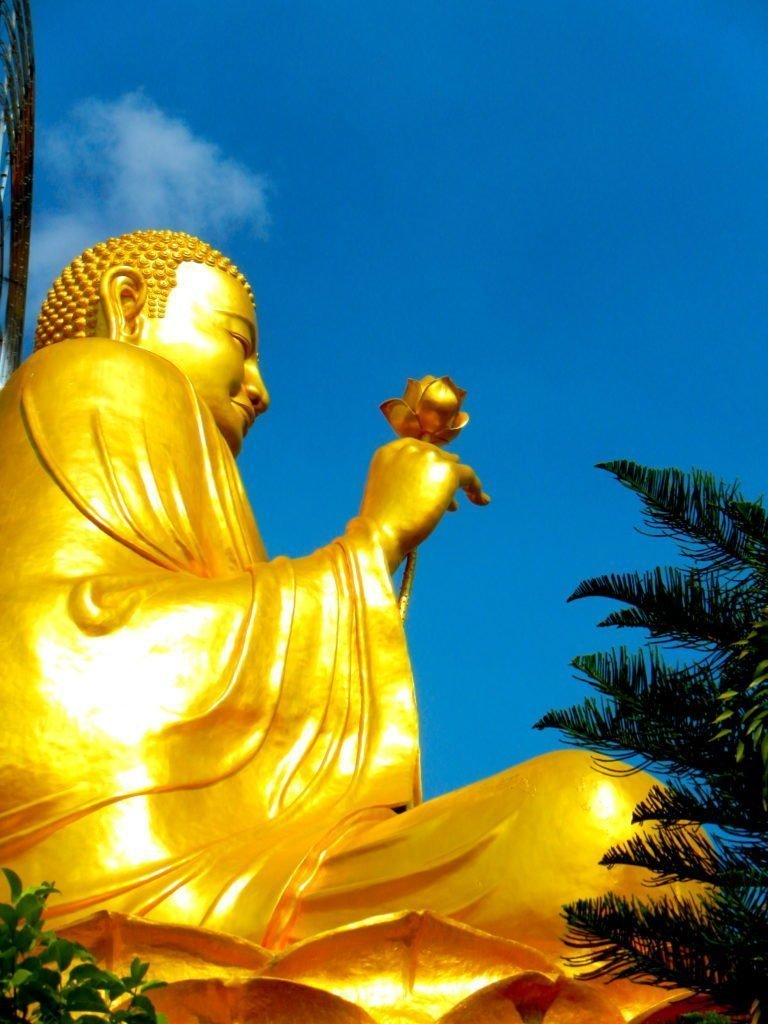 Side view of the Golden Buddah in Dalat, Vietnam