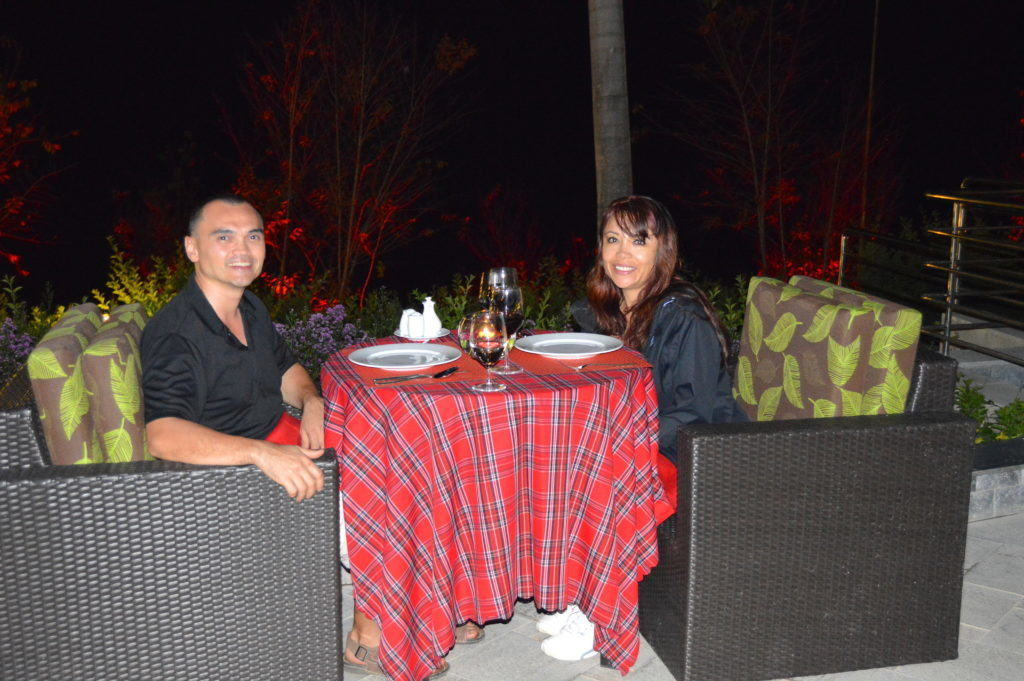 The Travel Ninjas having a romantic dinner at the Swiss Belresort