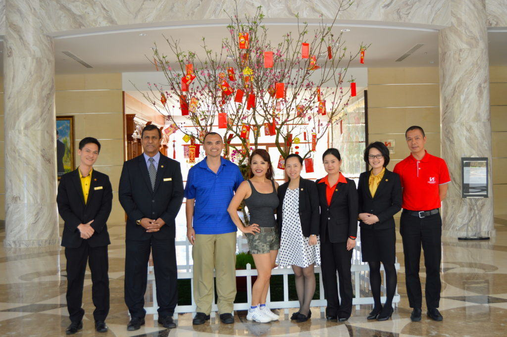 The Travel Ninjas hanging out with the staff at Swiss Belresort in Dalat, Vietnam