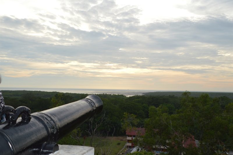Cannon aimed at the Straights of Malacca near Kuala Lumpur, Malaysia