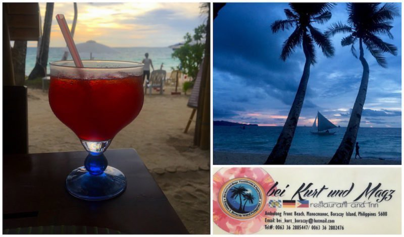 Sunset Cocktails at Bei Kurt and Magz on Boracay Island, Philippines