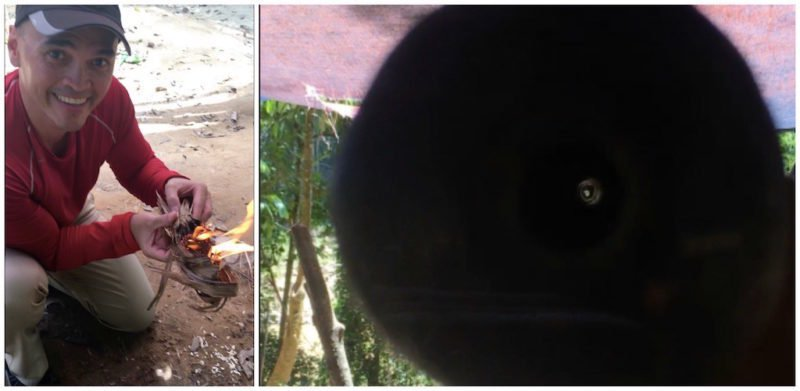 Learning to make fire and shoot a blowgun at Taman Negara near Kuala Lumpur in Malaysia
