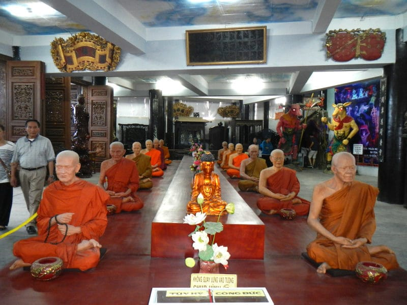 Lifelike Wax Monks at the LINH PHUOC PAGODA in Da Lat, Vietnam