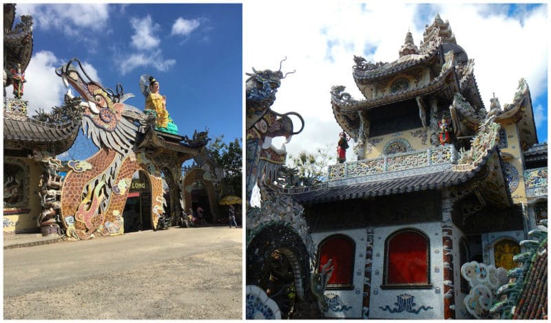 Glass Dragon Made of 12,000 Beer Bottles at the LINH PHUOC PAGODA in Da Lat, Vietnam