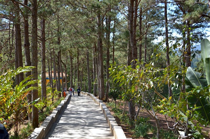 A Paved Path Makes Exploring Easy at the Truc Lam Temple in Dalat, Vietnam. Central Vietnam in Southeast Asia.