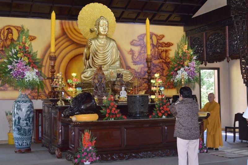The Simple Beauty of the Main Altar at Truc Lam Monastery in Da Lat, Vietnam