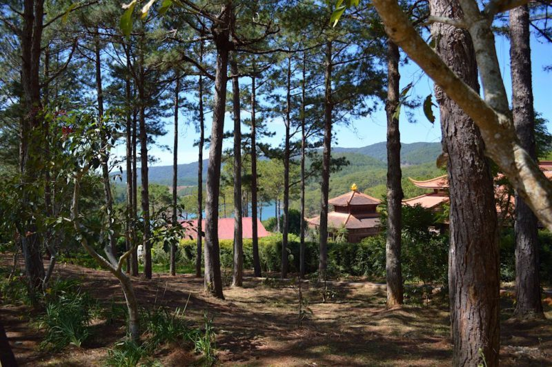 The Monks Living Quarters and Their Spectacular View at Truc Lam Monastery in Da Lat, Vietnam. This is Central Vietnam in Southeast Asia.