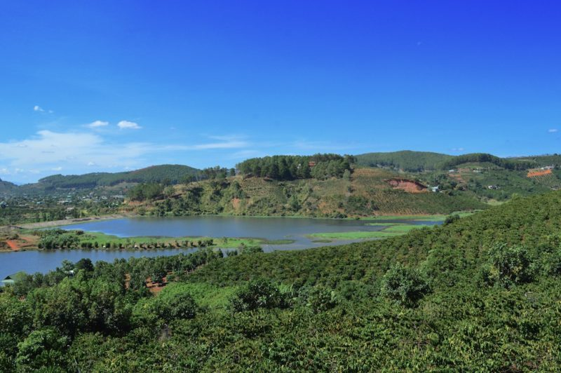 Scenic View from the Café at the Dalat Coffee Plantation in Da Lat, Vietnam. Central Vietnam in Southeast Asia.