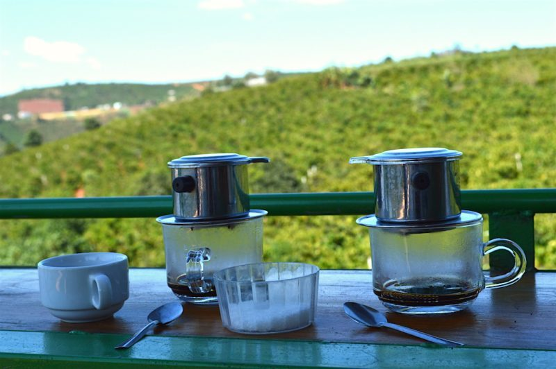 Coffee Brewed by the Cup in a Phin filter at the Dalat Coffee Plantation in Da Lat, Vietnam. Central Vietnam in Southeast Asia
