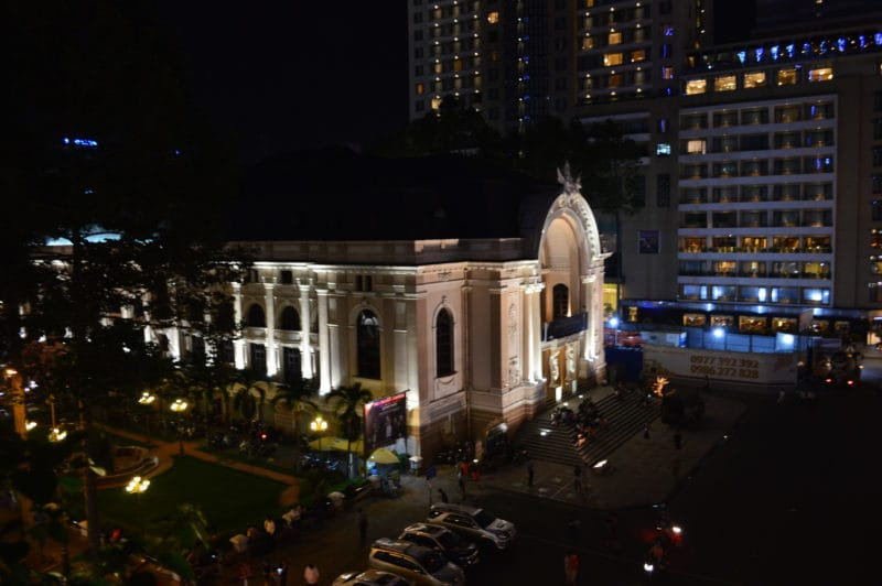 View of Opera House from the Hotel Continental Saigon in Ho Chi Minh City Vietnam