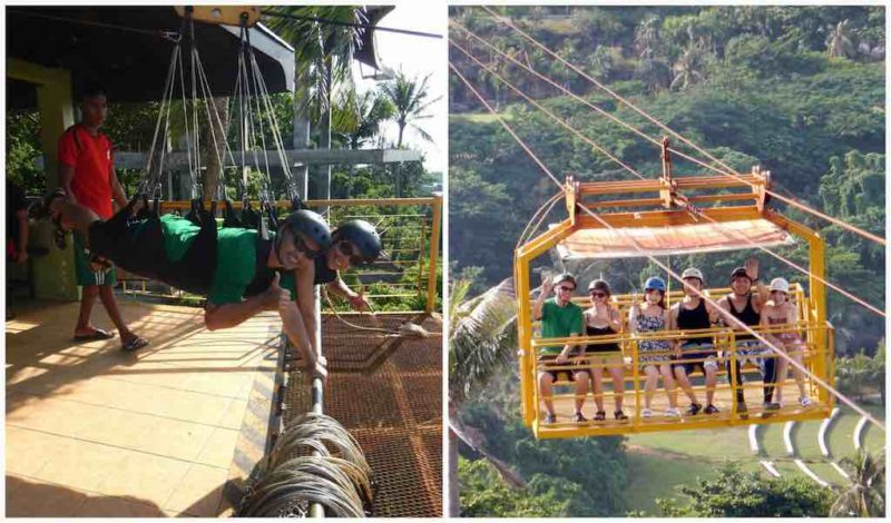 Riding Zipline and Cable Car ATV ride up Mt. Luho Station 1 on Boracay Island in the Philippines