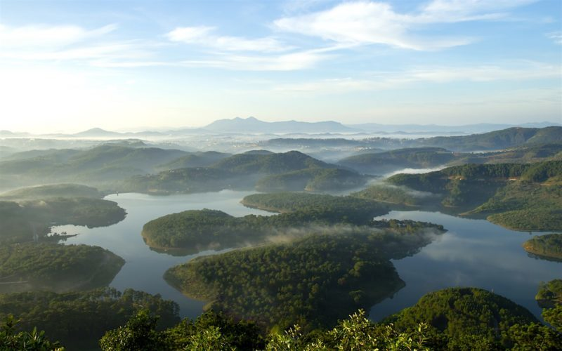 Aerial View of Tuyen Lam Lake in Da Lat Vietnam located in Central Vietnam