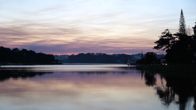Sunset at Ho Xuan Huong Lake in Dalat Vietnam also known as Da Lat Vietnam