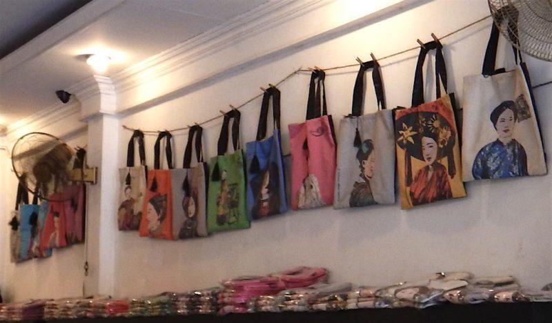 Cute tote bags in a hip shop Shopping in Saigon Ho Chi Minh City Vietnam