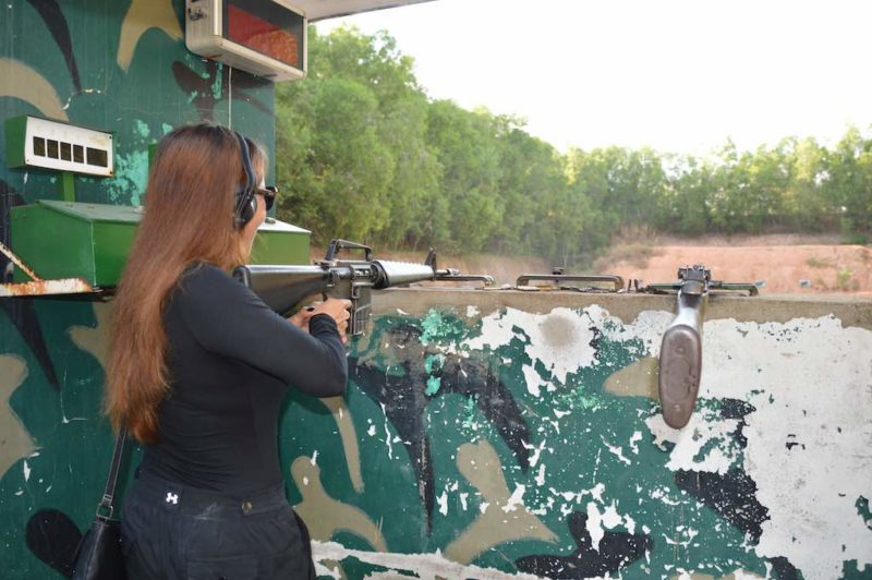 Things to do in Ho Chi Minh. Shooting a machine gun at Cu Chi Tunnels in Vietnam