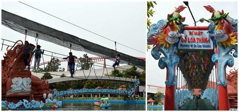 Zipline, Rope Bridge, and Entrance in Turtle-Dragon Haunted House at Suoi Tien in Ho Chi Minh City Vietnam Saigon