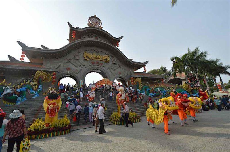Famous Buddhist Saints at Entranceat Suoi Tien in Ho Chi Minh City Vietnam Saigon