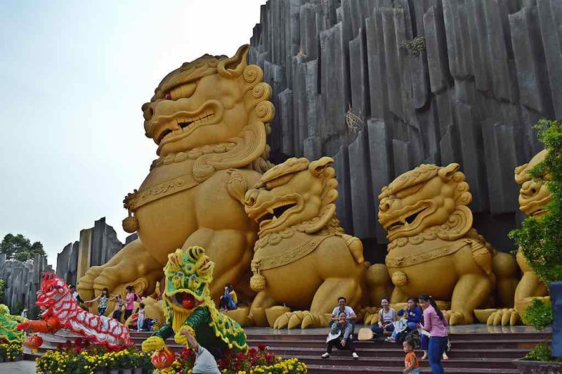 Are they Growling or Laughing? at Suoi Tien in Ho Chi Minh City Vietnam Saigon